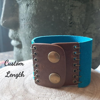 Turquoise Suede & Brown Leather Cuff