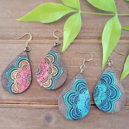 Small Rustic Mandala Wood Earrings