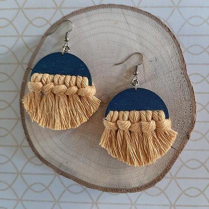 Blue & Mustard Macrame Earrings