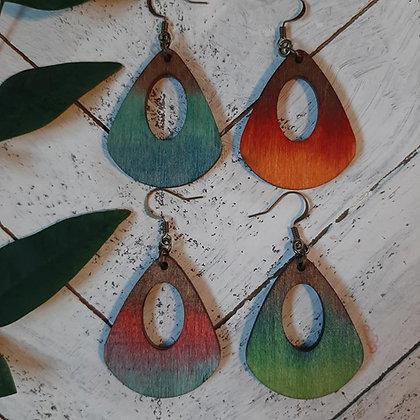 Open Teardrop Wood Earrings