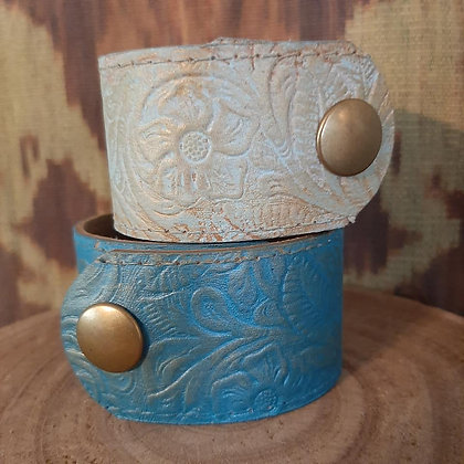 Flower Embossed Leather Cuff