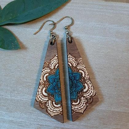 Embossed Mandala Wood Earring