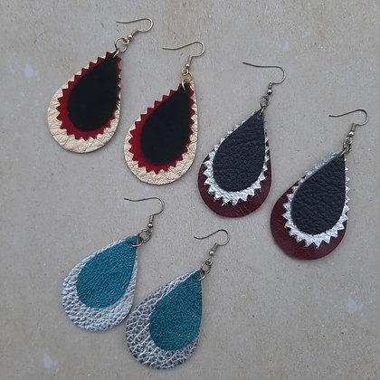 Layered Teardrop Leather Earrings