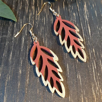 Gold Tip Leaf Earring