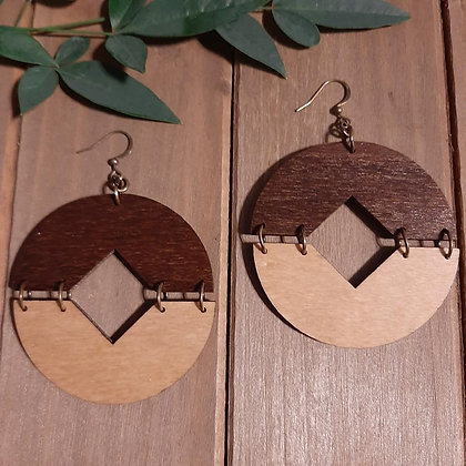 Two Tone Wood Earrings