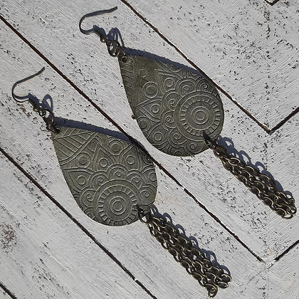 Leather Embossed Earring