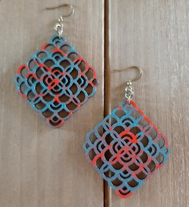 Sacred Geometry Wood Earring