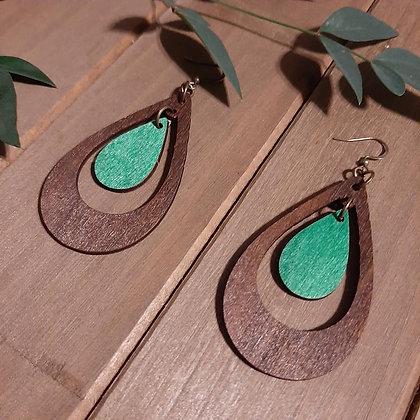 Teardrop Wood Earring