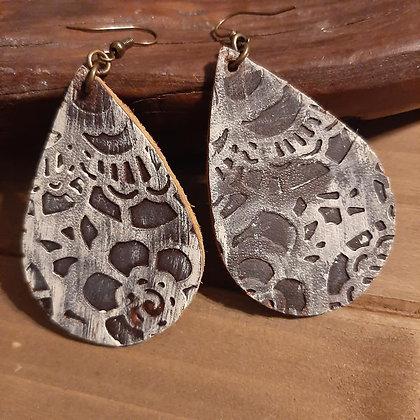 Embossed Leather Earrings