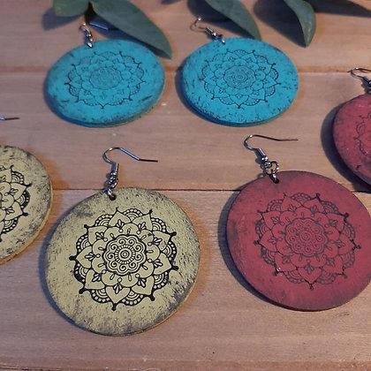 Round Mandala Wood Earrings