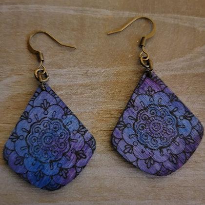 Small Mandala Wood Earrings