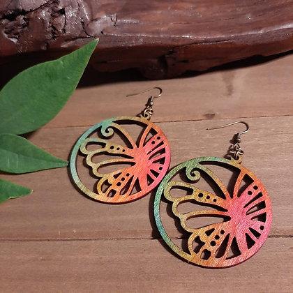 Rainbow Butterfly Wood Earrings