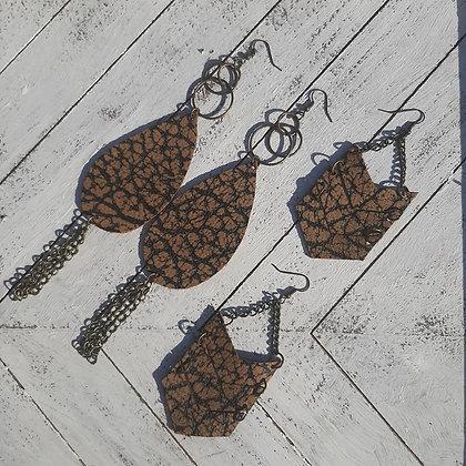 Rustic Leather Earrings