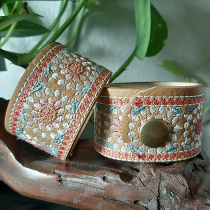 Faux Leather Embroidered Cuff