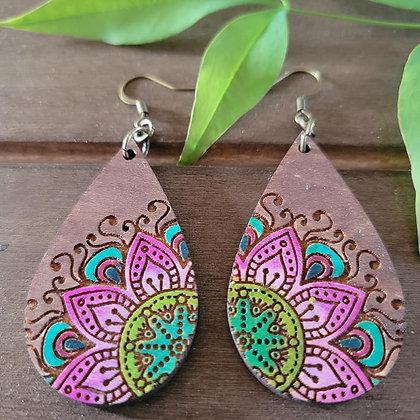 Rustic Mandala Wood Earrings
