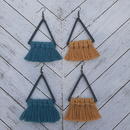 Large Triangle Macrame Earrings
