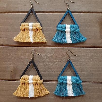 Triangle Wood & Macrame Earrings
