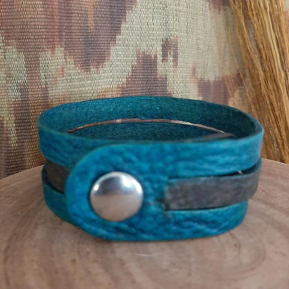 Turquoise & Brown Leather Cuff