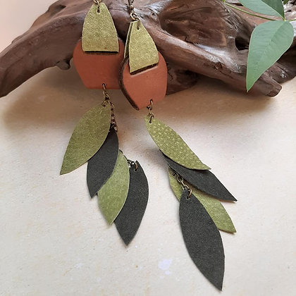 Long Leather and Suede Earring