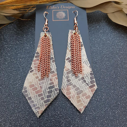 Falling Star Leather Earrings with Chain