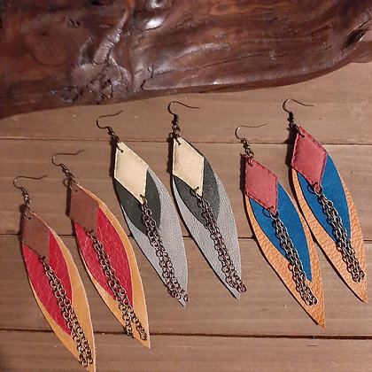 Long Leather Earrings