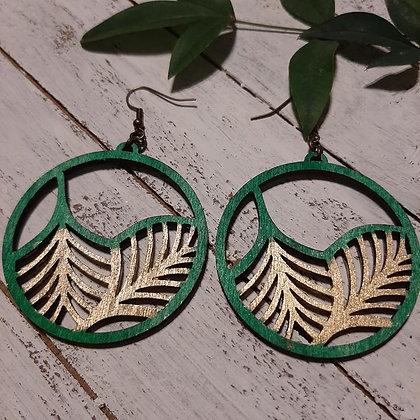 Gold Leaf Wood Earrings