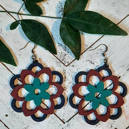 Flower Mandala Wood Earring