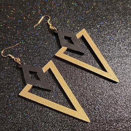Black Gold Wood Earrings