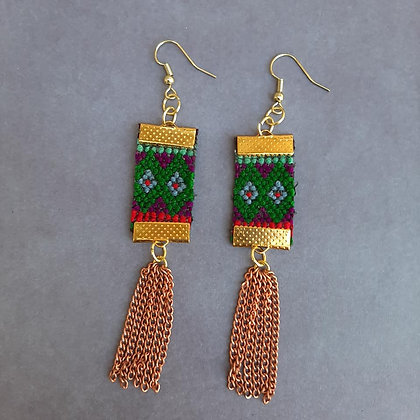 Hand-Woven Earrings with Chain