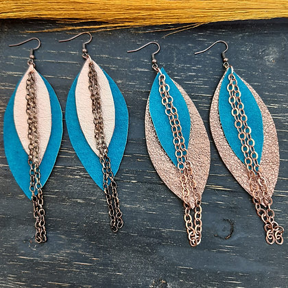 Layered Leaf Earrings with Chain