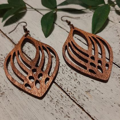 Copper Metallic Wood Earrings