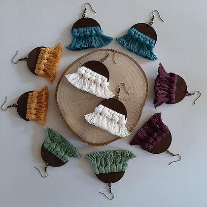Wood Macrame Earrings