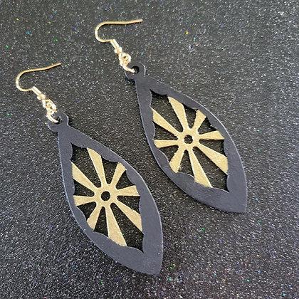 Black Gold Wood Earring