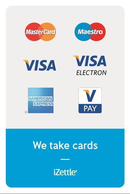 Master card, Maestro, Visa, American Express, V Pay.
