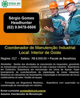 Coordenador de Manutenção Industria  Goi