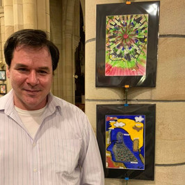 Chris with his artwork