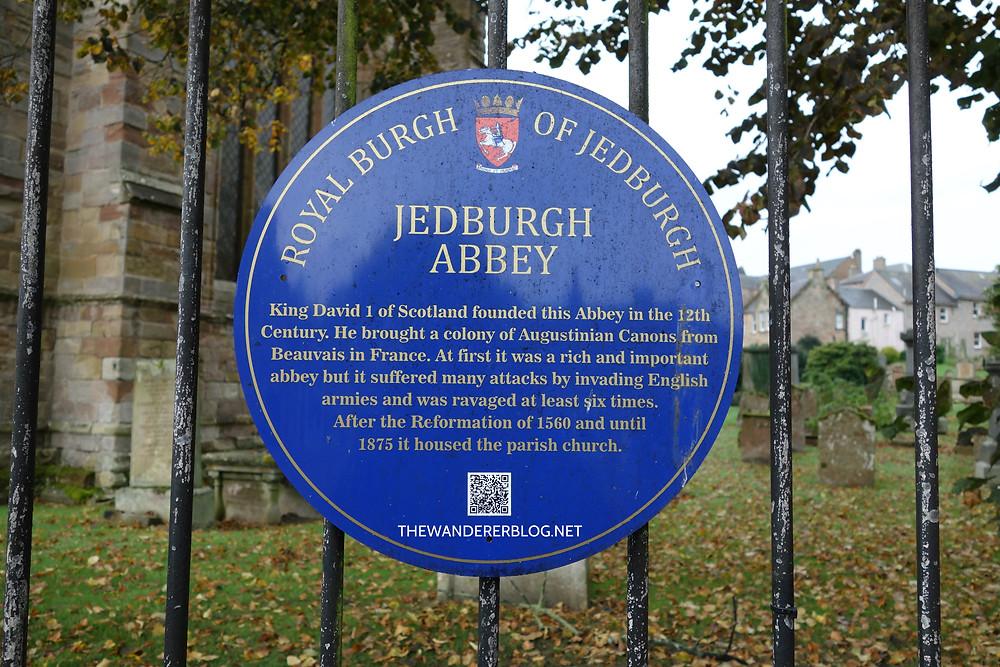Sign at Jedburgh Abbey