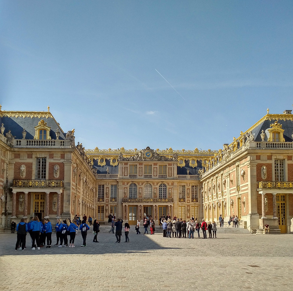The front entrance of the Palace of Versailles