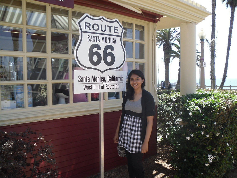 Me at the west end of Route 66 in Santa Monica, California