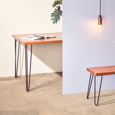 Custom Made Table & Bench with Hairpin Legs