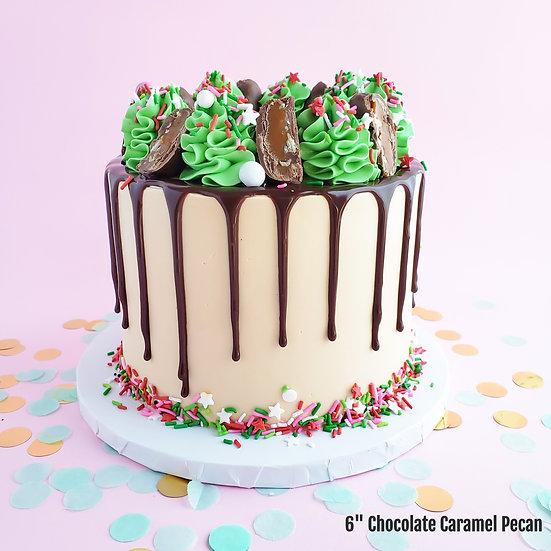 Chocolate Caramel Holiday Cake