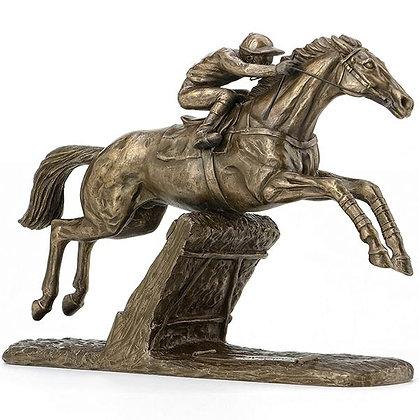 Bronzenfigur Hürdenpferd