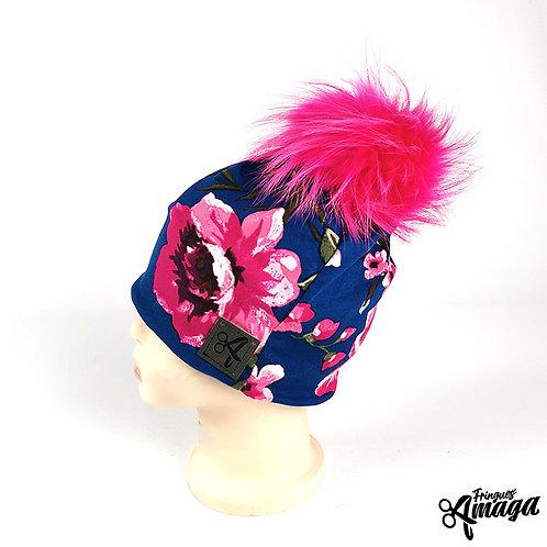 Tuque fleur rose fond marin