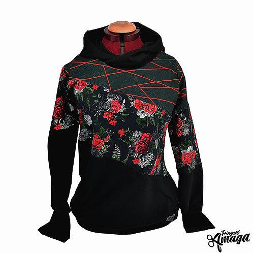 Hoodie fleur rouge lignée rouge
