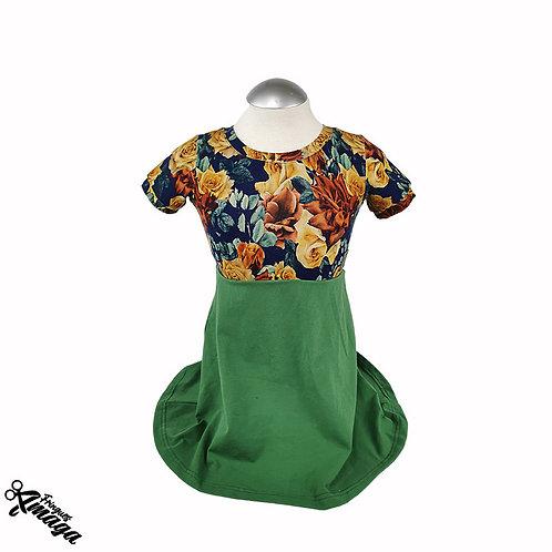 Robe floral jaune-vert