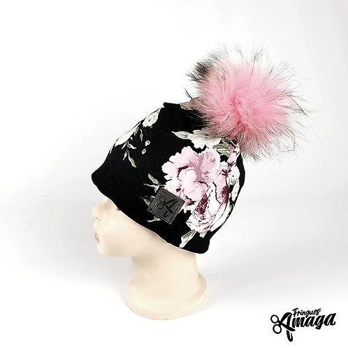 Tuque Floral rose fond noir