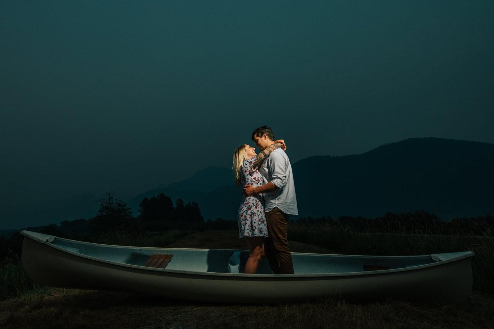 Vancouver-engaged-couple-kissing-boat-ni