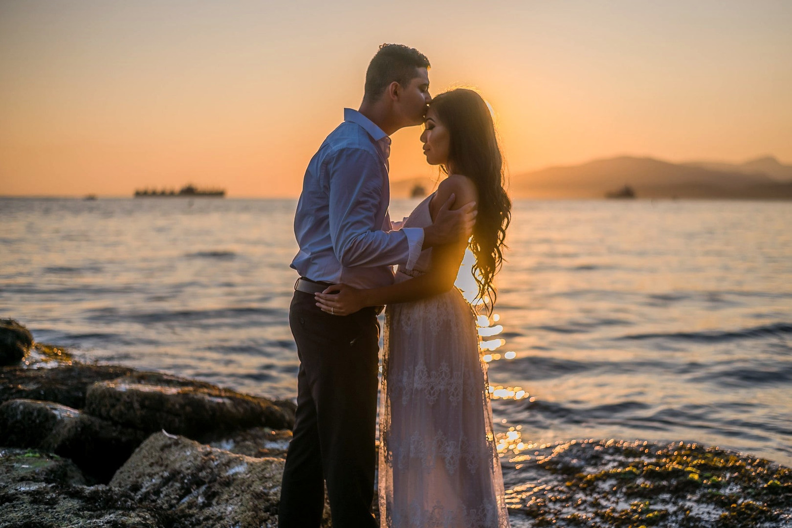 Vancouver-engaged-couple-standing-Sunset