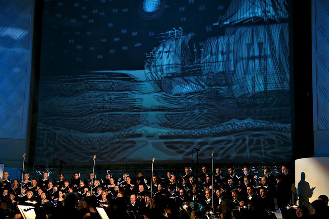 Concert of classical music in 3D glasses
