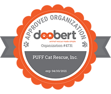Image of a badge depicting a partnership between PUFF and Doobert. Badge states: Doobert, animal rescue made simple. Approved organization. Organization number 4731. PUFF Cat Rescue, Inc. Expires April 30th 2021.